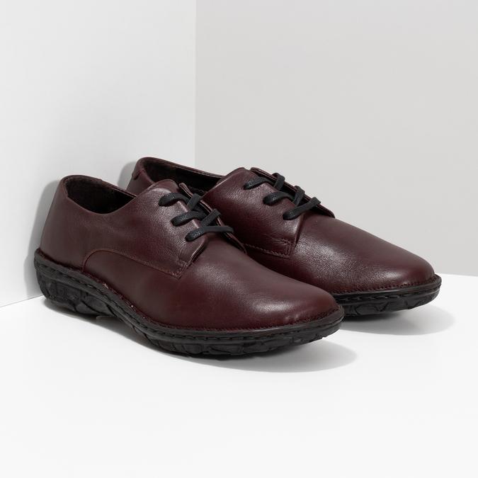 Vínové ležérní dámské kožené polobotky bata, červená, 526-5665 - 26