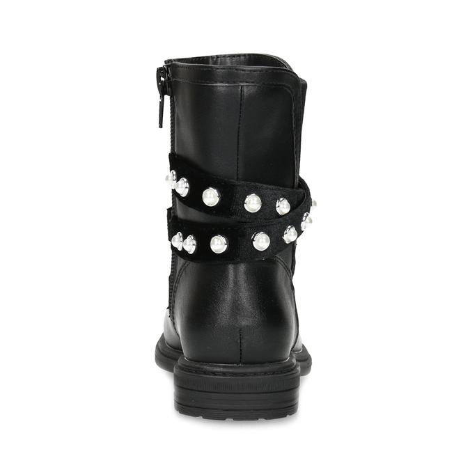 Dívčí kozačky s perličkami zateplené mini-b, černá, 291-6111 - 15
