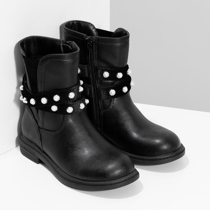 Dívčí kozačky s perličkami zateplené mini-b, černá, 291-6111 - 26