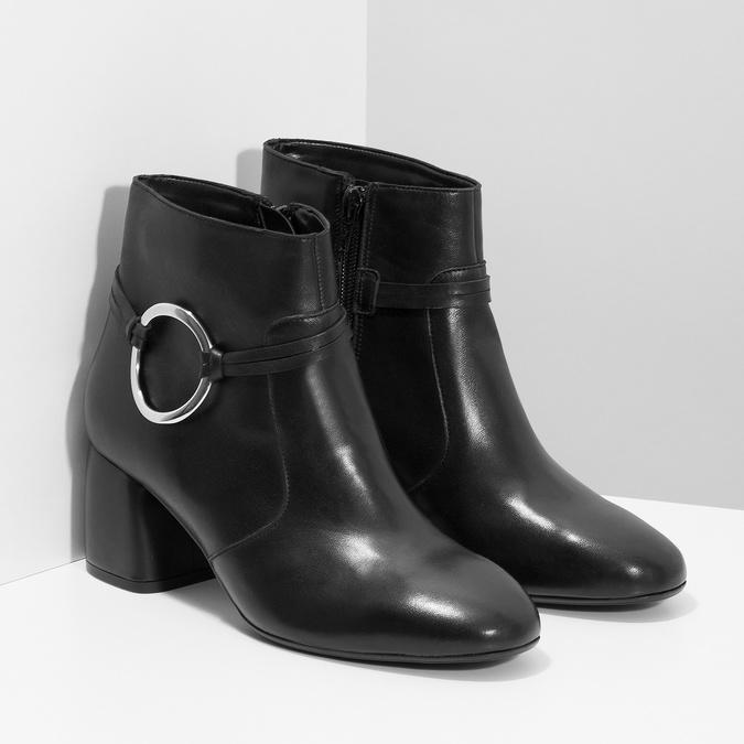 Kožená dámská kotníčková obuv bata, černá, 694-6665 - 26