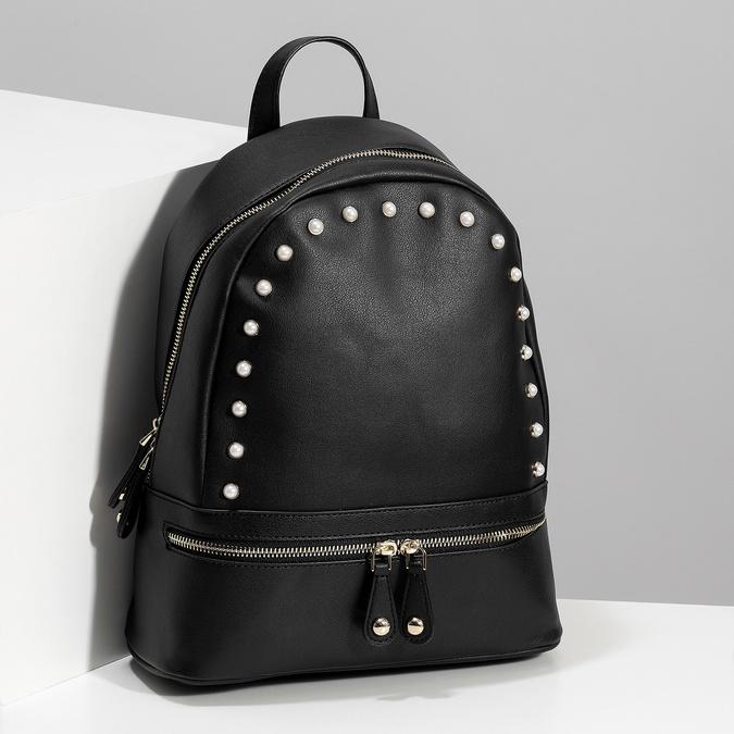 Městský batůžek s perličkami bata, černá, 961-6906 - 17
