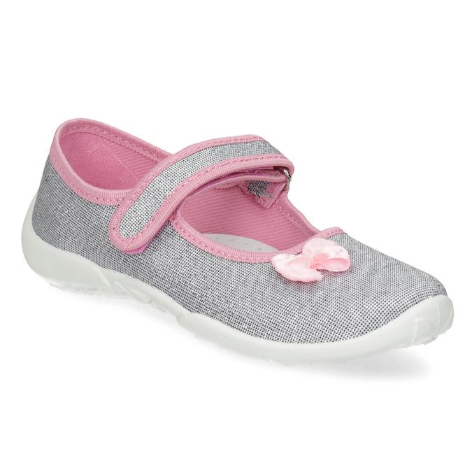 Dětská domácí obuv s mašličkou mini-b, stříbrná, 379-1314 - 13