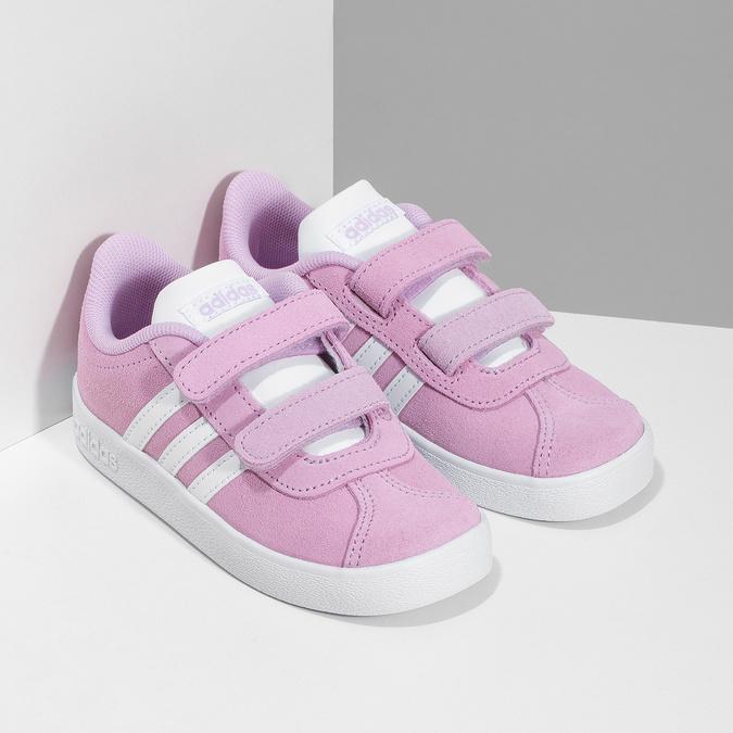 Růžové kožené dětské tenisky adidas, růžová, 103-5203 - 26