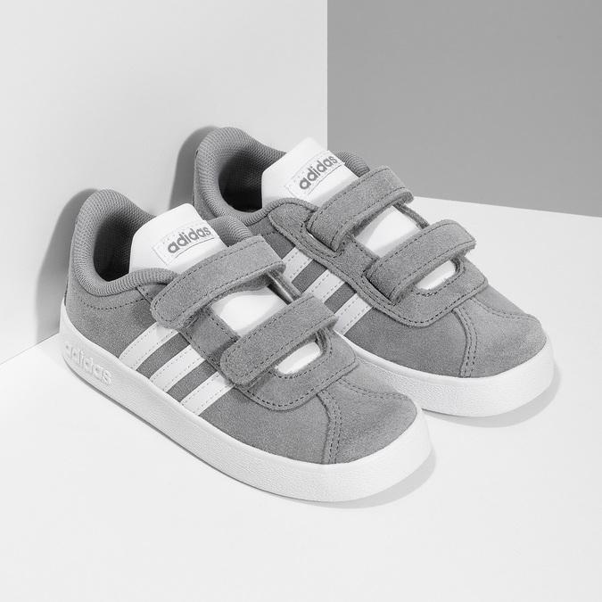 Šedé dětské tenisky z broušené kůže adidas, šedá, 103-2203 - 26