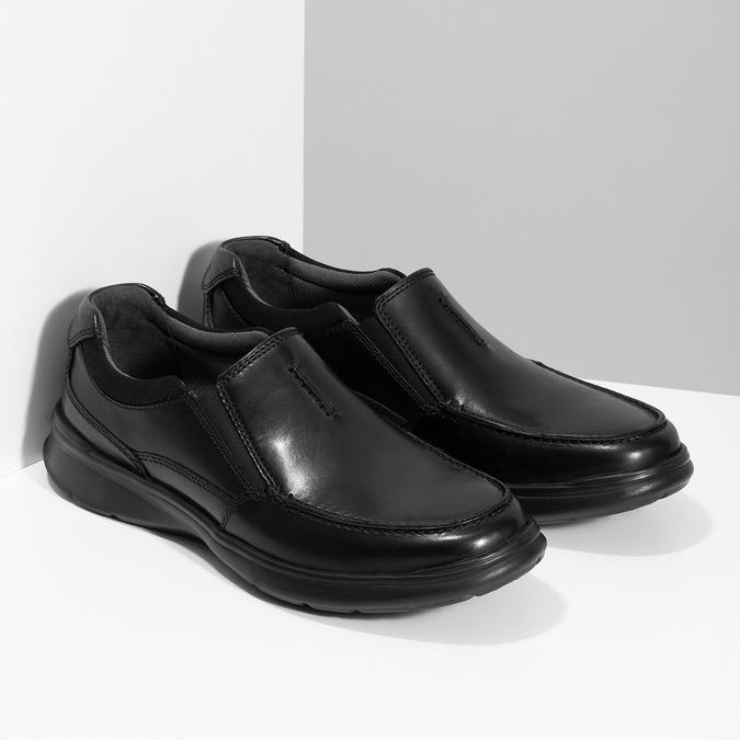 Pánské kožené černé mokasíny clarks, černá, 814-6072 - 26