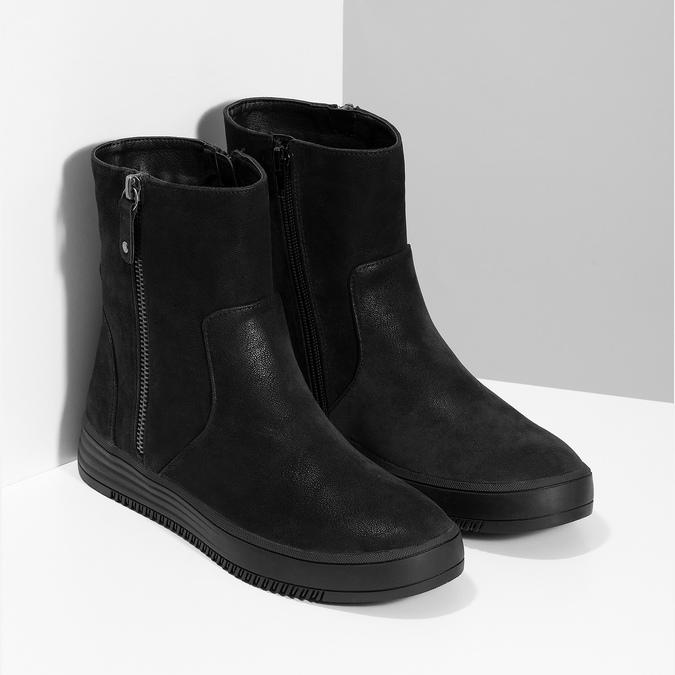 Dámské černé kozačky se zipy bata, černá, 691-6637 - 26