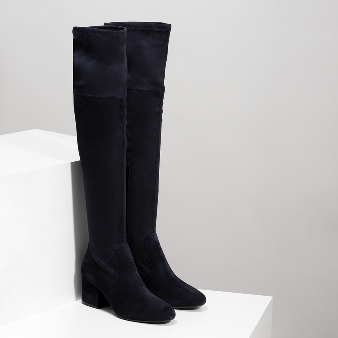 Modré dámské kozačky nad kolena bata, modrá, 793-9614 - 26