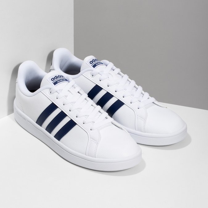 Pánské bílé ležérní tenisky adidas, bílá, modrá, 801-9378 - 26