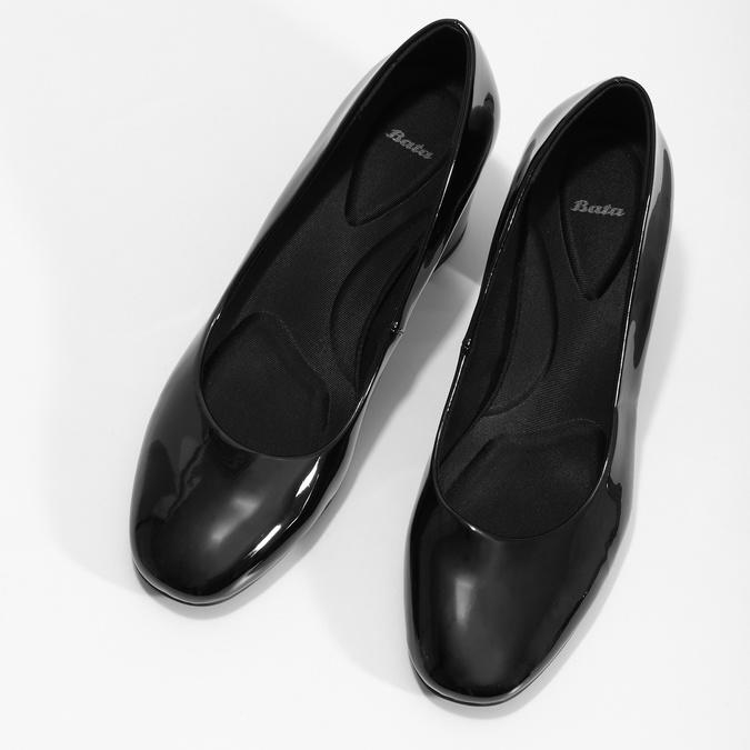 Lakované černé lodičky pillow-padding, černá, 721-6656 - 16