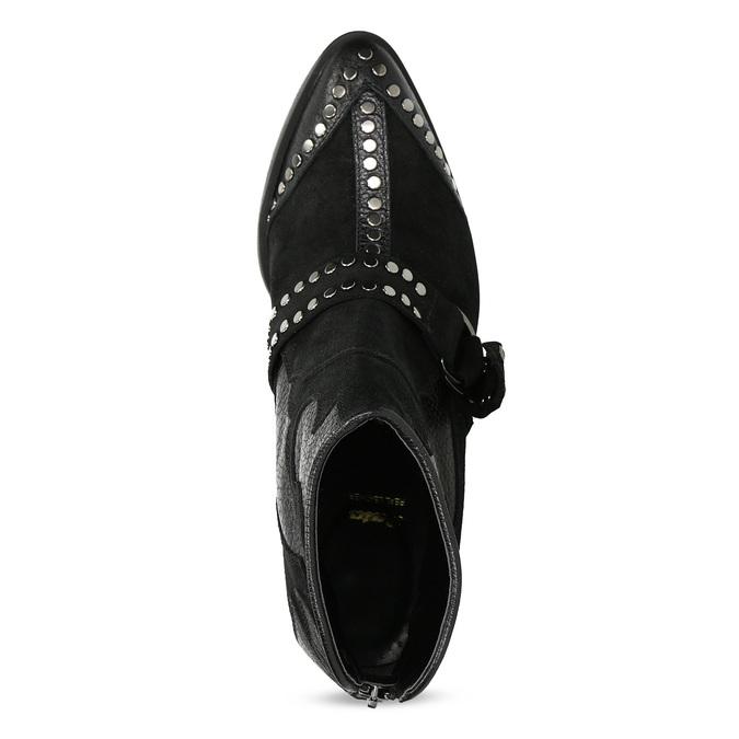 Kožená kotníčková obuv ve western stylu bata, černá, 696-6663 - 17