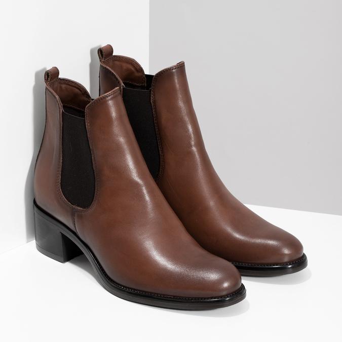 Kožené dámské Chelsea na podpatku bata, hnědá, 694-4667 - 26