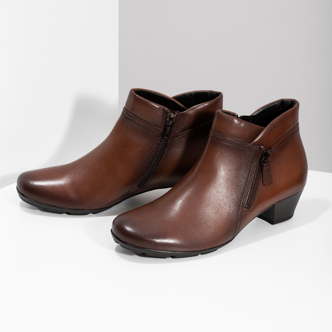 Dámská kožená kotníčková obuv hnědá gabor, hnědá, 616-3001 - 16