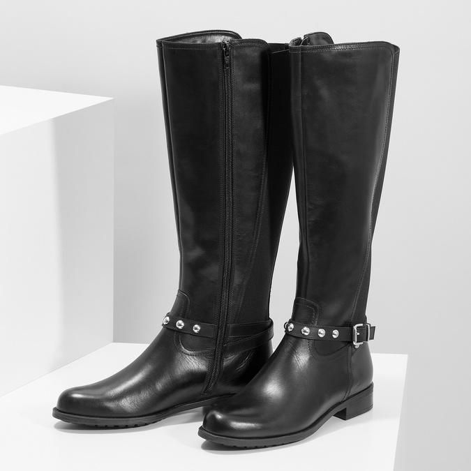 Vysoké kožené kozačky s kovovými cvoky bata, černá, 594-6669 - 16