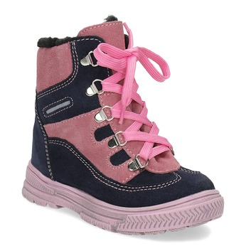 Dětské kožené zimní boty růžové mini-b, růžová, 296-5602 - 13