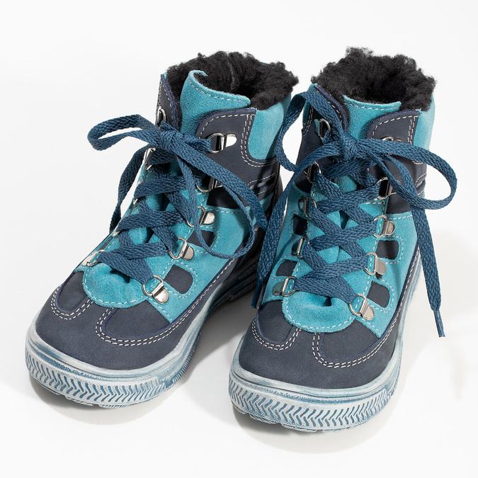 Modrá dětská kožená kotníčková obuv mini-b, modrá, 296-9602 - 16