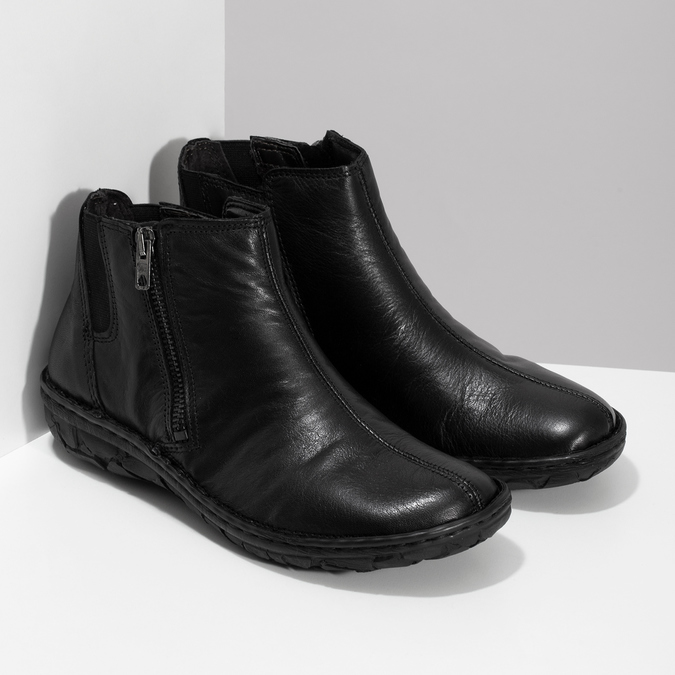 Dámská kotníčková zimní obuv kožená bata, černá, 594-6708 - 26
