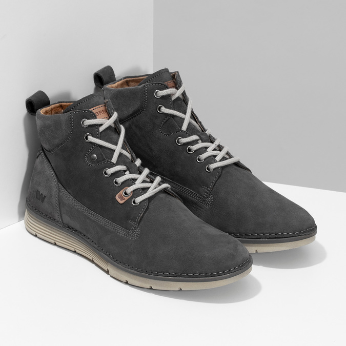 Kotníčková kožená pánská obuv s prošitím weinbrenner, šedá, 846-6719 - 26