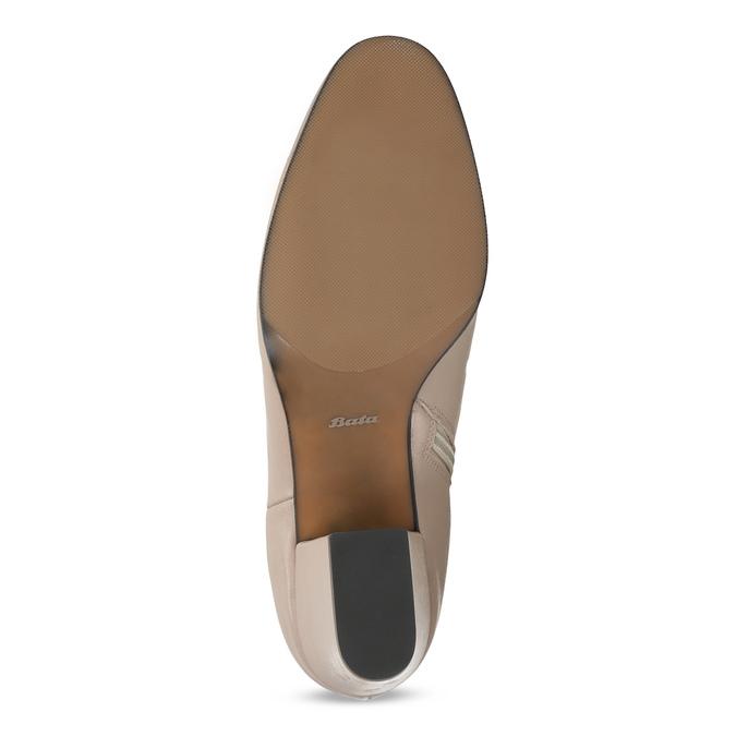 Krémová kožená kotníčková obuv na podpatku bata, béžová, 796-8654 - 18