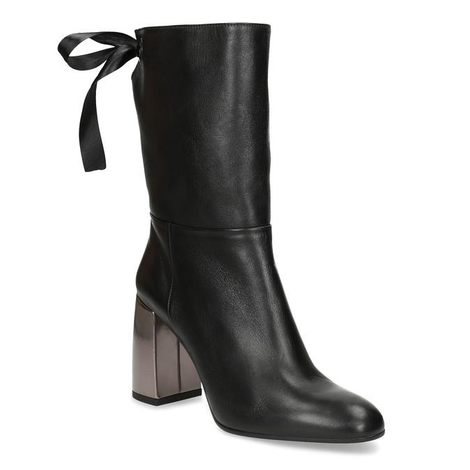 Kožené černé kozačky s metalickým podpatkem bata, černá, 796-6655 - 13