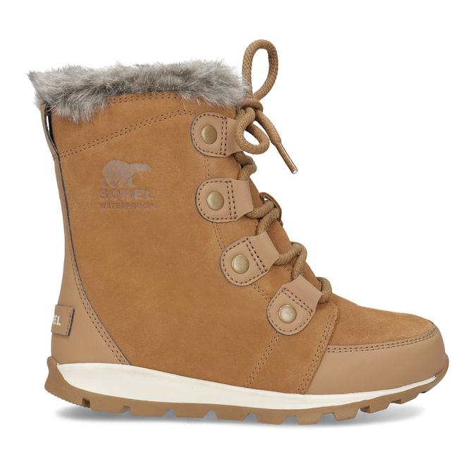 Kožená dětská zimní obuv s kožíškem sorel, hnědá, 393-3041 - 19