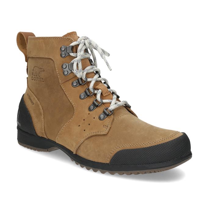 Pánská kožená kotníčková zimní obuv sorel, hnědá, 826-3025 - 13