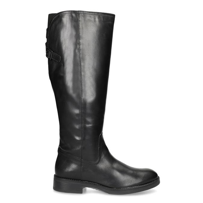 Kožené černé kozačky s přezkou bata, černá, 594-6678 - 19