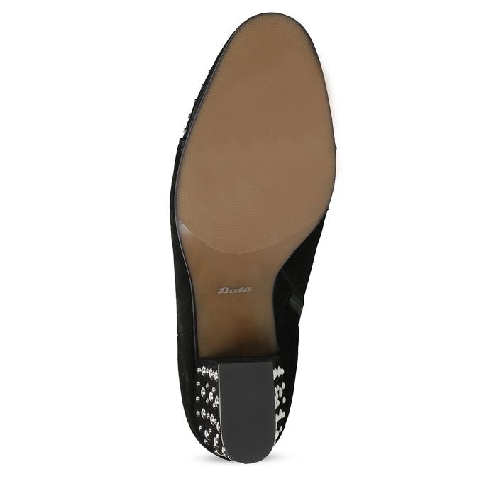 Kotníčkové kožené kozačky s kovovými cvoky bata, černá, 793-6615 - 18
