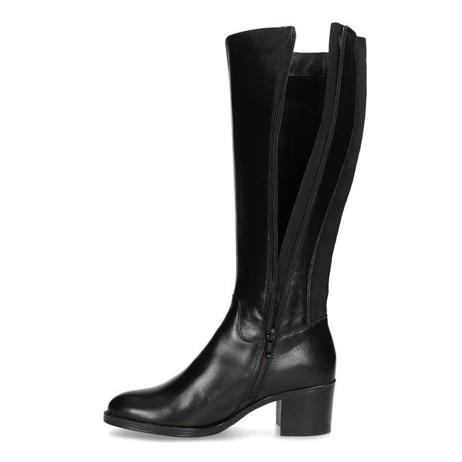 Kožené černé kozačky na stabilním podpatku bata, černá, 694-6668 - 17