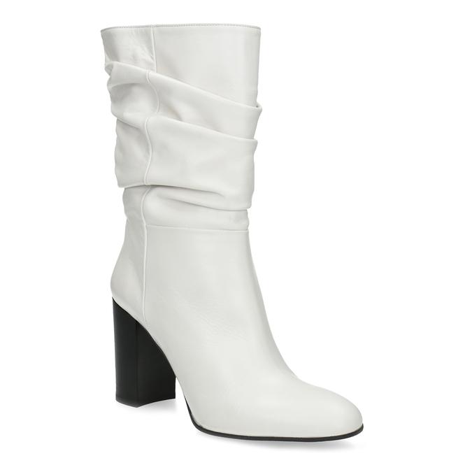 Bílé kožené kozačky na stabilním podpatku bata, bílá, 796-1656 - 13