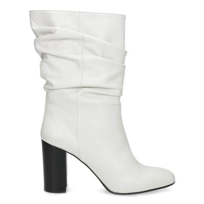 Bílé kožené kozačky na stabilním podpatku bata, bílá, 796-1656 - 19