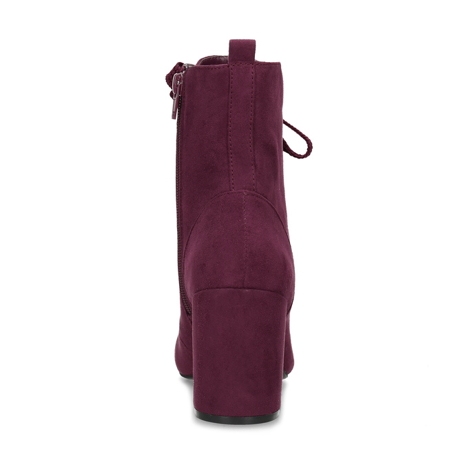 Vínové dámské kozačky se šněrováním bata-red-label, červená, 799-5633 - 15