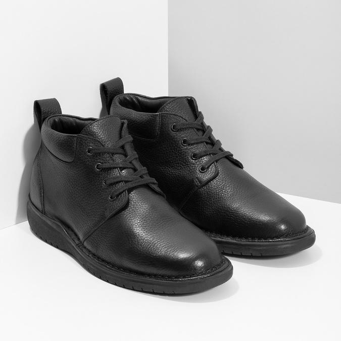 Pánská kožená kotníčková obuv comfit, černá, 894-6701 - 26