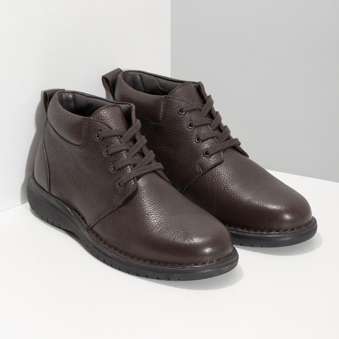 Kožená pánská kotníčková obuv comfit, hnědá, 896-4701 - 26