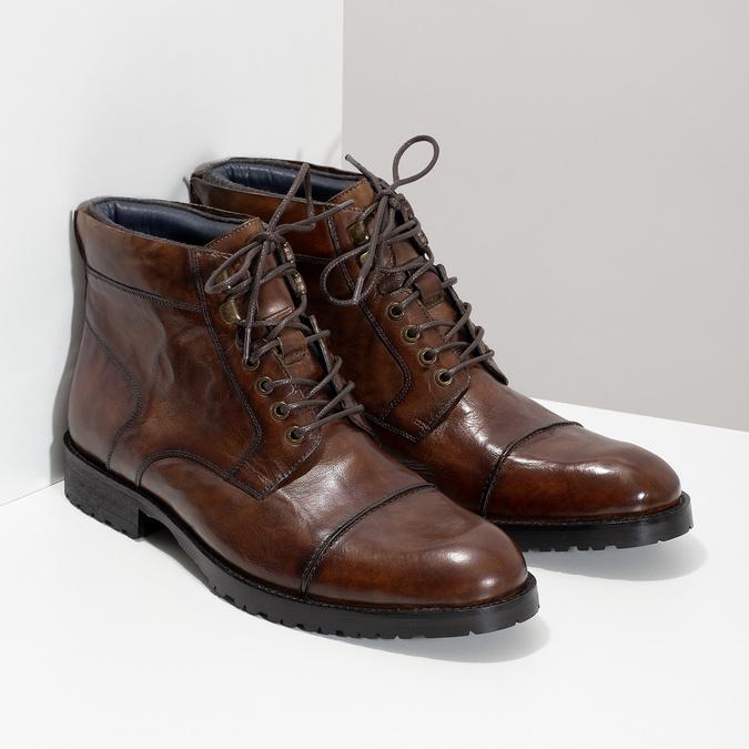 Pánská kotníková obuv hnědá lesklá bata, hnědá, 896-3720 - 26