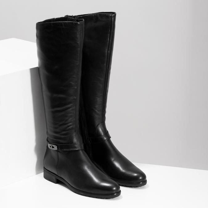 Kožené černé dámské kozačky bata, černá, 594-6676 - 26