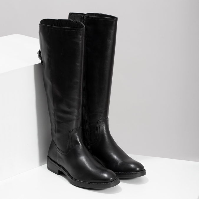 Kožené černé kozačky s přezkou bata, černá, 594-6678 - 26