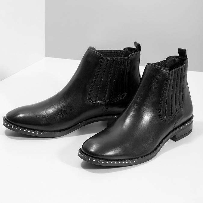 Dámská kožená Chelsea obuv s kamínky bata, černá, 594-6682 - 16