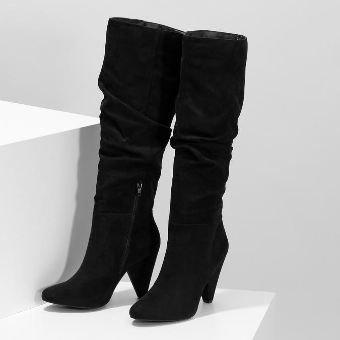 Černé řasené kozačky na kónickém podpatku bata-red-label, černá, 799-6634 - 16