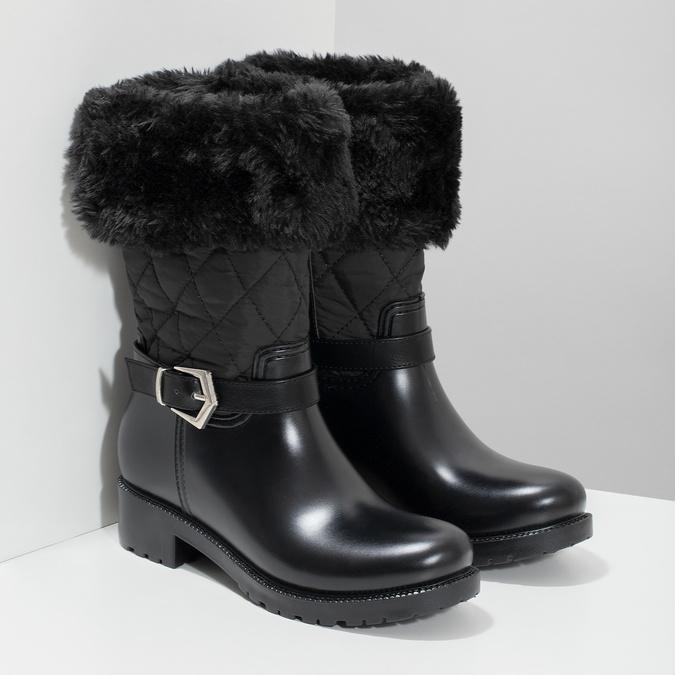 Dámské sněhule s kožíškem černé bata, černá, 592-6602 - 26