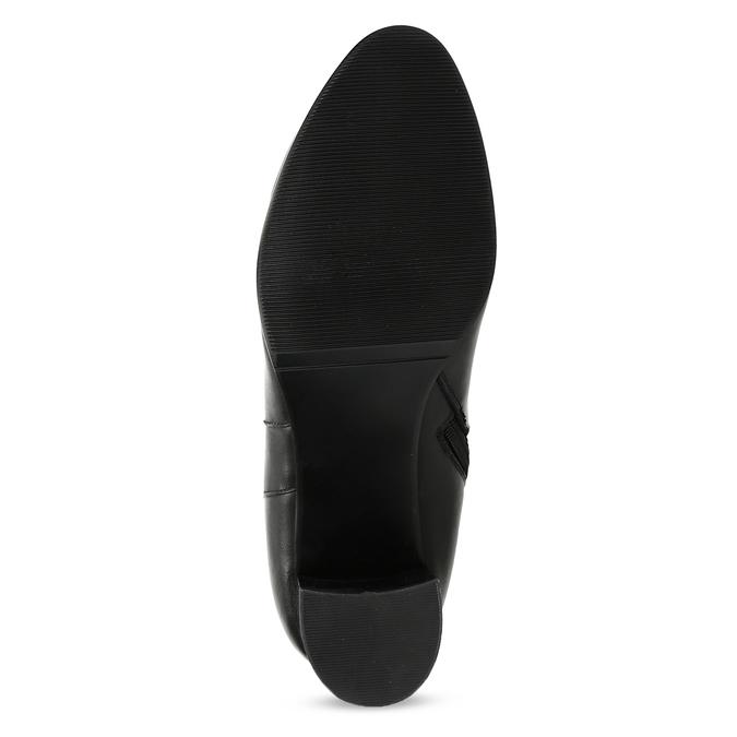 Černé kožené kozačky s prošitím bata, černá, 694-6639 - 18