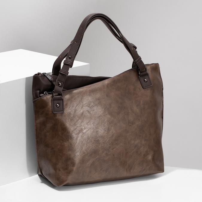 Hnědá kabelka s metalickými odlesky bata, hnědá, 961-8457 - 17
