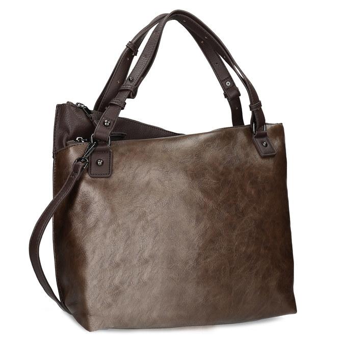 Hnědá kabelka s metalickými odlesky bata, hnědá, 961-8457 - 13