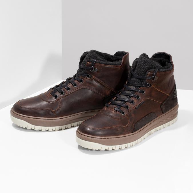 Kotníková kožená pánská zimní obuv bata, hnědá, 896-3712 - 16