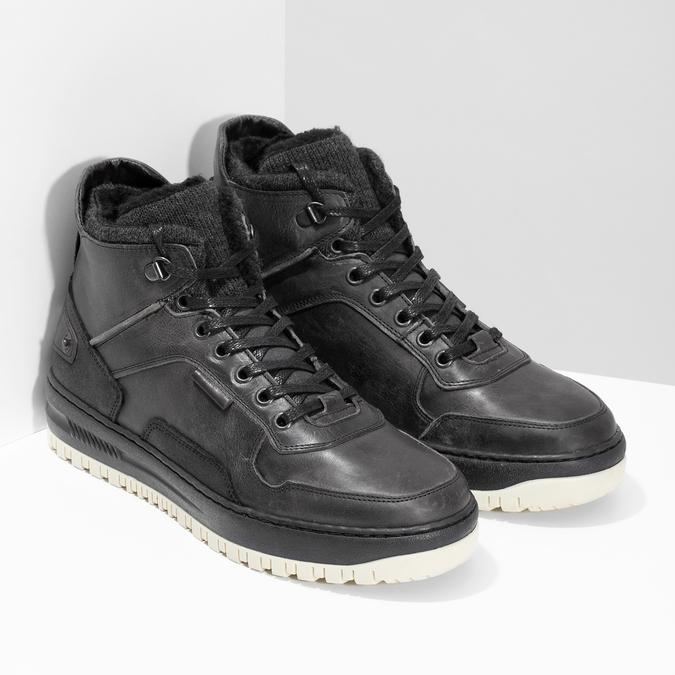 Černá pánská kožená kotníková obuv bata, černá, 896-6712 - 26