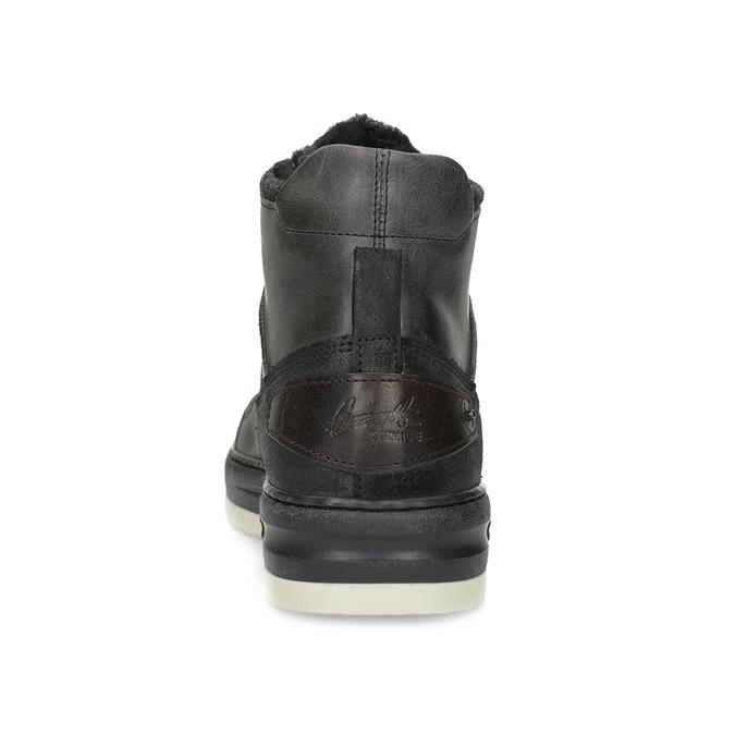 Černá pánská kožená kotníková obuv bata, černá, 896-6712 - 15