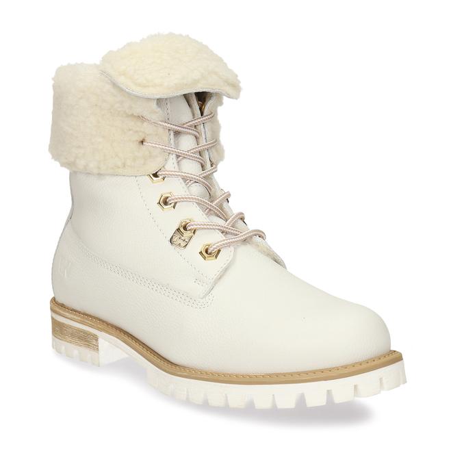 Dámská bílá kožená obuv s kožíškem weinbrenner, bílá, 596-1743 - 13