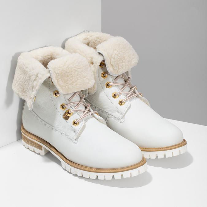 Dámská bílá kožená obuv s kožíškem weinbrenner, bílá, 596-1743 - 26