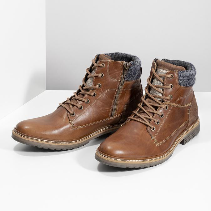 Kožená pánská kotníková obuv hnědá bata, hnědá, 896-3713 - 16