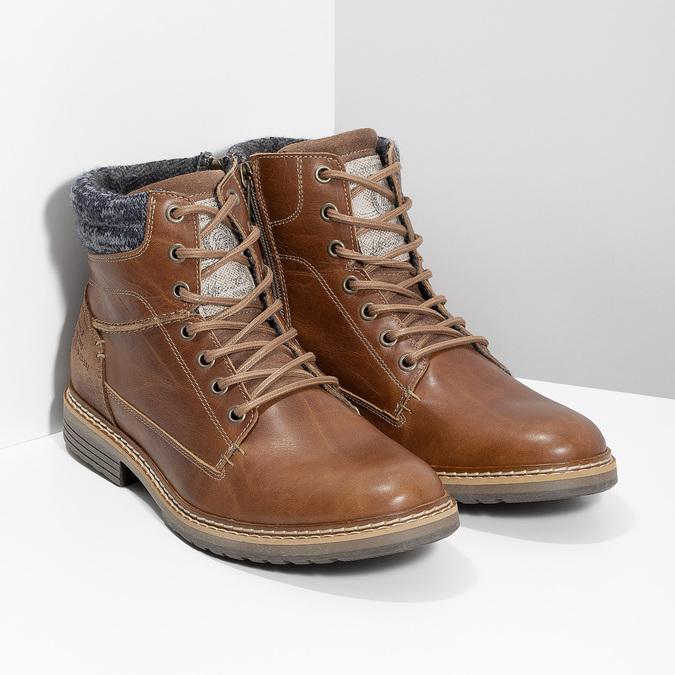 Kožená pánská kotníková obuv hnědá bata, hnědá, 896-3713 - 26