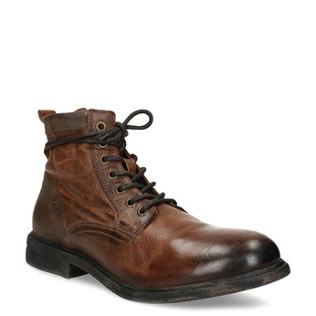 Kožená pánská hnědá kotníčková obuv bata, hnědá, 896-3717 - 13